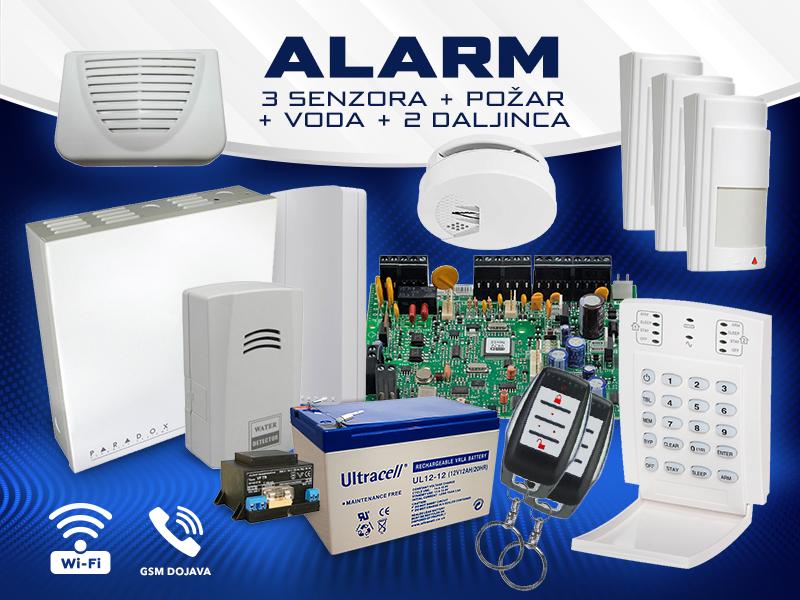 Bežicni Alarm 3 senzora + požar + voda + 2 daljinca